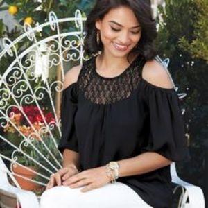 Avon Signature Cold Shoulder Crochet Detail Blouse